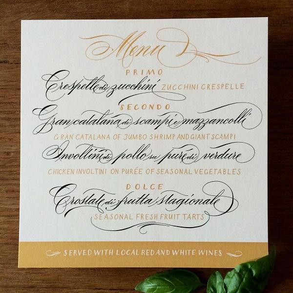 menu-cuoi-bang-kieu-chu-calligraphy Những kiểu thiết kế thực đơn tiệc cưới chuyên nghiệp