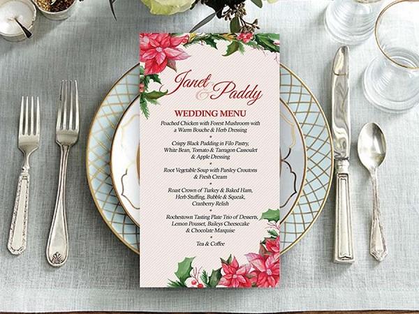 thuc-don-tiec-cuoi-kieu-floral Những kiểu thiết kế thực đơn tiệc cưới chuyên nghiệp